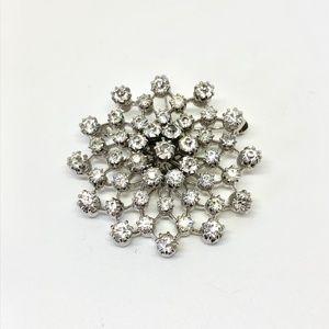 Crystal Starburst Silver Brooch Pendant